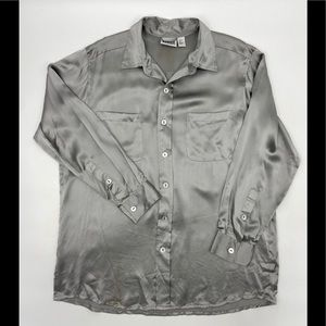 CHICO's Silver Pewter Silk Blouse Shirt 2 L Large